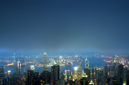 """HK Blue Hour""<br />foggy view from The Peak HK.."